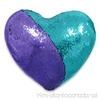 QQB Mermaid pillow  Reversible Sequin color Heart shaped decorative throw pillow with pillow insert  13''×15''(sky blue and purple) - B0784MYZCH