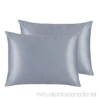 ALCSHOME Standard Silky Satin Pillowcases Soft and Luxury Pack of 2 Hidden Zipper Grey - B07D2ZV3B2