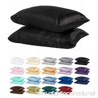 DreamHome Satin Standard Pillowcase Black Pair - B009B15SN8