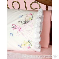 Fairway Needlecraft 82511 Vintage Ruffled Edge Pillowcases Butterfly Lady Design Standard White - B0052ZUG98