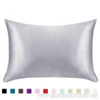 Juwenin bedding Luxury Satin Pillowcase with Zipper (Silky Satin Pillow Case for Hair) set of 2 (Silver  Queen(20''x29'')) - B0774FKLK4