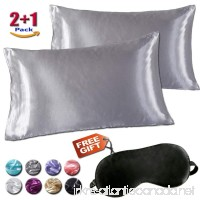 Minda Satin Pillowcases Set for Hair and Skin  Standard Queen King Size Silk Pillowcase Prevents Sleep Wrinkles No Zipper Pillow Silk Pillowcase EASY TO WASH  GIFT-Eye Mask(Gray  Queen) - B07CNJH4HX