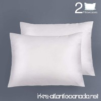 "NTBAY Silky Satin Pillowcases Set of 2  Super Soft and Luxury  Hidden Zipper Design  20""x 26"" White - B079BLWXCY"