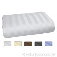 American Pillowcase 100% Long Staple Cotton Luxury Striped 540 Thread Count Flat Sheet - King/California King  White - B06XSKRN4R