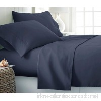 "Premium 1500 Series Ultra-Soft Microfiber-Thicker  Denser  Higher 130 GSM Fabric Weight-Wrinkle & Fade Resistant Navy Blue Solid With 15"" Deep Bedding-4 Piece Set Cal-King Size-BY Rajlinen - B0761WLMLD"
