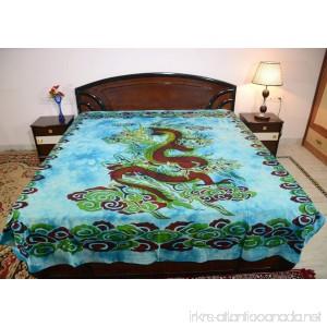 Sarjana Handicrafts King Size Cotton Flat Bed Sheet Dragon Bedspread Bedding (Sky Blue) - B0723F8R2K