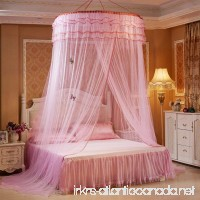 Graceful Round Mosquito Net Honeycomb Type Encryption Mesh  Keeps Away Mosquitoes and Insects Bed Net  Including Hanging Parts and 2 Luminous Butterflies Decoration  Fits Most Size Beds (Pink) - B0721PDXMP