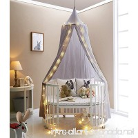 HKH Kids Baby Bedding Round Dome Bed Canopy Netting Bedcover Mosquito Net with Light (Grey) - B0722GP64H