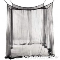 JOODS 4 Corners Princess Post Bed Tent Canopy Mosquito Net Twin Full/Queen King Netting Black - B07CYHHY2X