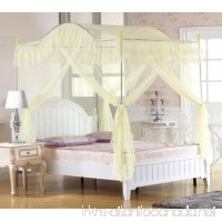 KingKara Arched 4 Corner Post Bed Canopy Mosquito Net Netting Bedding Beige (Full/Queen) - B01KTRRJMU