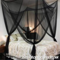 Lighting-Time 4 Corners Post Bed Canopy Twin Full Queen King Mosquito Net for Full Queen King Bedding(Black) - B0719S3ZYV