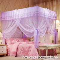 LuDan Mosquito Net Bed Canopy-Lace Luxury 4 Corner Square Princess Fly Screen Indoor Outdoor (Purple Full/Queen) - B07BJLC37L