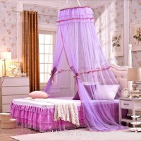 Luxury Mosquito Net Bed Canopy Universal Hanging Round Princess Lace Mosquito Net Bed Canopy Full Hanging Kit Set For Home or Travel Use (Purple) - B07BF9D4M6