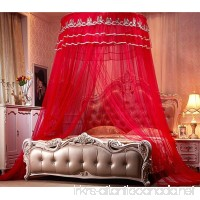 Nattey Princess Lace Bedding Round Mosquito Net Canopy Bites Protect For Twin Queen King Size Canopies (Red) - B071H7QNTR