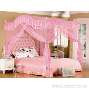 Pink Arched Four Corner Square Princess Bed Canopy Mosquito Netting (Twin-XL) - B01I4IZE9Q