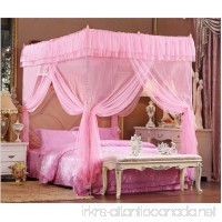 Pink Lace Luxury 4 Post Bed Canopy Mosquito Net (Full/queen) - B0185ITXJM