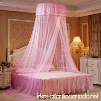 Pink Princess Dome Girls Fantasy Bed Netting Curtains with Butterfly Decoration Hanging Round Lace Canopy Kids Play Tent Mosquito Net for Double Bed - B07B8D1HVK