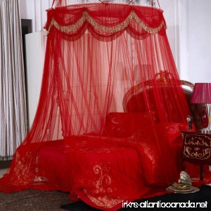 Red wedding round ceiling mosquito net Floor-standing 1-door Double Residential bed canopy-B Full-size - B07CK464TM