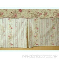 Cottage Romantic Tailored Bed Skirt 15 inches Drop Floral Roses Print Pattern Cream Yellow 100 Cotton Queen Size - B01MSWBD2Y
