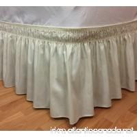 Elegant Elastic Ruffle Bed Skirt Easy Warp Around King/Queen Size Bed Skirt Pins Included  (Ivory) - B01LZQE1YA