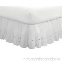 "Fresh Ideas Eyelet Ruffled Bedskirt – Ruffled Bedding with Gathered Styling – 18"" Drop  Queen  White - B002X79W4S"