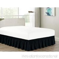 Heavy Duty Elastic Wrap-Around 18 Drop Dust Ruffled Bed Skirt Cover Black Queen - B074XT4564