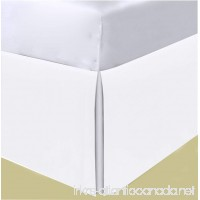 HS Linen 100% Egyptian Cotton 600 TC Bedding One Piece Bed Skirt  Classic 30 Inch Drop Length  Pleated Tailored Styling  Twin Extra Long Size ( 39 x 80 ) Solid  White Color - B0775W2137