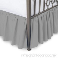 Luxurious Comfort Collection 800TC Pure Cotton Dust Ruffle Bed Skirt 12 Drop length 100% Egyptian Cotton Silver Grey Queen Size - B072M5WF4W