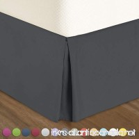 "Pleated Bed-Skirt Queen Size – Dark Gray Luxury Double Brushed 100% Microfiber Dust Ruffle  18"" inch Tailored Drop by Urban Bed - B07C2LJVHM"