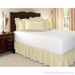 Rajlinen Ruffle/Gathering Bed Skirt Genuine Poly Cotton Bed Wrap with Platform (+15 Inch Drop)- Easy Fit Gathered Style 3 Sided Coverage King Ivory) - B0727X8R3Y