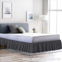 Rajlinen Ruffle/Gathering Bed Skirt Genuine Poly Cotton Bed Wrap with Platform (+18 Inch Drop)- Easy Fit Gathered Style 3 Sided Coverage (Queen  Dark Grey) - B0713YP85F