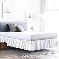 Rajlinen Ruffle/Gathering Bed Skirt with 18 Inch Drop Genuine Egyptian Cotton 600-Thread-Count Bed Wrap with Platform - Easy Fit Gathered Style 3 Sided Coverage (Queen  White) - B06X6GTRF3