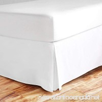 sculpture Queen Bed Skirt 21 inch Drop 600-Thread Count 100% Long Staple Cotton 1pc Split Corner Bed Skirt Queen Size 21 inch Drop White With Plates Perfect For All Bed Types - B07BTH38CH