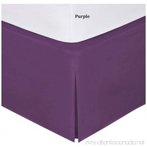 SRP Bedding Real 350 Thread Count Split Corner Bed Skirt/Dust Ruffle King Size Solid Purple 16 inches Drop Egyptian Cotton Quality Wrinkle & Fade Resistant - B01GIPTB5U