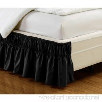 "Wrap Around BLACK Ruffled Solid Bed Skirt Fits both QUEEN and KING size bedding soft 90 GSM microfiber fabric allows for Natural Draping  14"" Fall - B01BMDQN1S"