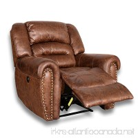 BONZY Power Recliner Chair Worned Leather Look Micro Fiber Oversized Electric Recliner Chair - Brown - B07CT9XRTX