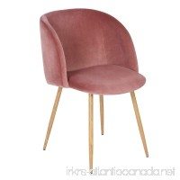 EGGREE Mid-Century Velvet Accent Living Room Chair Upholstered Armchair Armrest with Solid Steel Leg for Living Room Bedroom Reception Room Modern Furniture Rose Pink - B06W9LQKM9