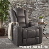 Everette Power Motion Recliner with USB Charging Port & Hidden Arm Storage Assisted Reclining Furniture for Elderly & Disabled – Durable Tufted Slate Microfiber Comfortable Easy to Clean - B075773LP3