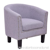Giantex Modern Tub Barrel Club Seat Arm chair Accent Fabric Nailhead w/Cushion (Gray) - B07425XQ3B