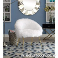 Inspired Home Ana White Fur Accent Chair - Metal Legs | Upholstered | Living Room Entryway Bedroom - B073HCRVZR