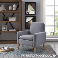 Lohoms Modern Accent Fabric Chair Single Sofa Comfy Upholstered Arm Chair Living Room Furniture Grey - B07FD9B91V