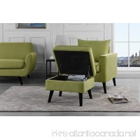 Mid-Century Brush Microfiber Modern Living Room Large Accent Chair with Footrest/Storage Ottoman (Green) - B076CYLRC3