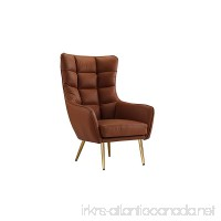 Modern Living Room Bonded Leather Tufted Armchair with Gold Color Legs (Camel Brown) - B07BF5MJDS