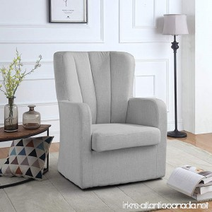 Modern Swivel Armchair Rotating Accent Chair for Living Room with Pleated Back (Light Grey) - B079PP7GJX