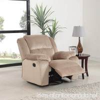 Oversize Brush Microfiber Rocker and Swivel Recliner Living Room Chair (Beige) - B074HVSNH6