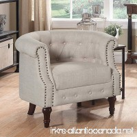 Rosevera Da Vigo Tufted Barrel/Club Chair With Nailhead Trim Arms Beige - B074ML6WY8
