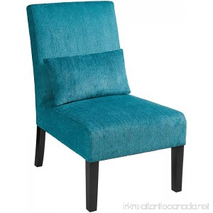 Roundhill Furniture Pisano Teal Blue Fabric Armless Contemporary Accent Chair with Kidney Pillow Single - B017UM91PU