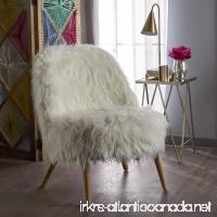 Soho Glam White Faux Fur Chair - Shaggy Faux Fur Accent Chair - Faux Sheepskin Chair - B076KX2T2Y
