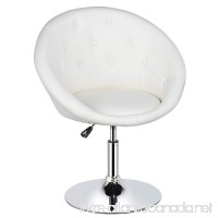 Yaheetech Adjustable Modern Round Tufted Back chair Tilt Swivel Chair Vanity Chair Barstool Lounge Pub Bar White - B07F7PWF1D