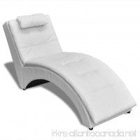Chaise Lounge Chair Indoor Modern Sofa Bed Artificial Leather White Upholstered - B075WVYQBP